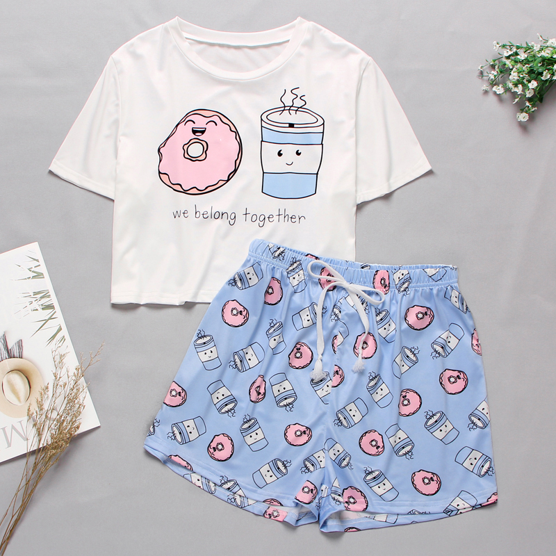 Women's Sleepwear Cute Cartoon Print Short Set Pajamas For Women Pajama Set Sweet Short Sleeve T Shirts & Shorts Summer Pajamas