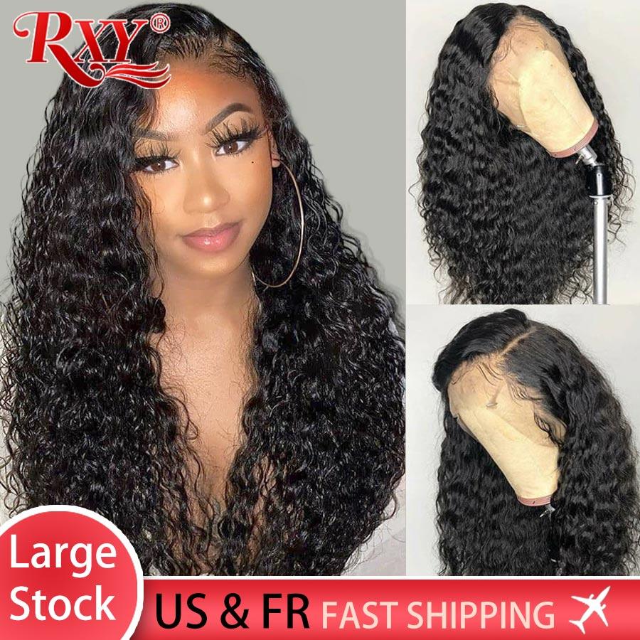 Peluca con cierre RXY para mujer Peluca de cabello humano rizado profundo de densidad 250, peluca con malla Frontal, cabello humano 360, pelucas con encaje Frontal para mujeres negras