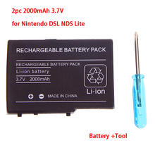Pack-Kit Dsi Battery Nintendo NDSL Rechargeable 2000mah for 2pc Lithium-Ion