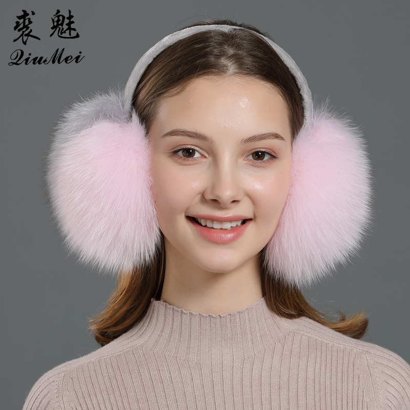 Women Real Fur Earmuff Fox Fur Pink White Solid Color Lady Girl Lovely Warm Ears Cover Fulffy Fur Fashion Protection Earmuffs