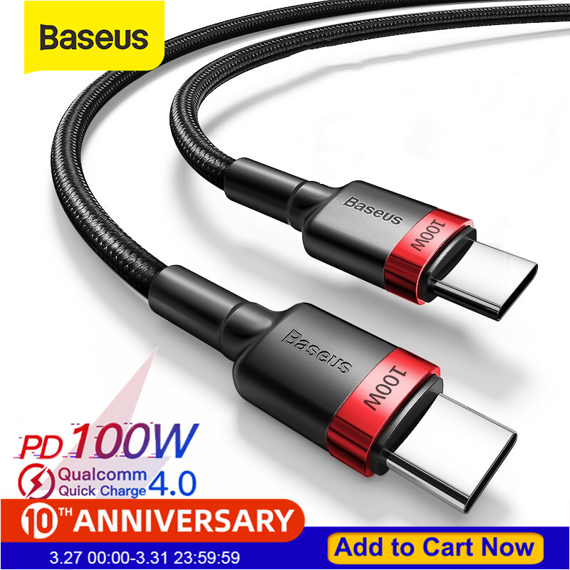 Baseus C-Cable Usb-Type Quick-Charge Macbook Xiaomi Redmi Samsung Note-10 PD 5a 100w title=