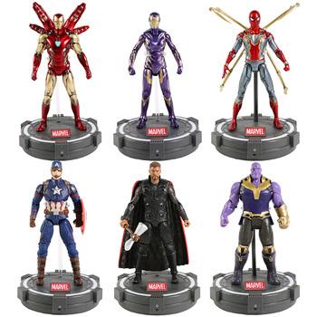 Wysokiej jakości ZD zabawki Marvel Avengers 7 #8222 figurka Iron Man Spiderman kapitan ameryka Thor wojna maszyna czarna pantera Thanos tanie i dobre opinie Disney Model 4-6y 7-12y 12 + y CN (pochodzenie) Unisex not for children under 3 years 18~22cm On Avengers Wersja zremasterowana