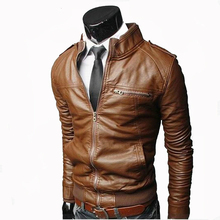 Men Faux Leather Jacket Zippers 2019 Men's Stand Collar Coat Spring Autumn Casua