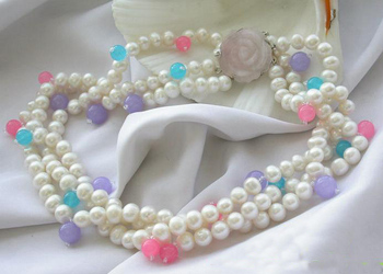 Unique Pearls jewellery Store 3row White Round Pearl Multicolor Jade Beads Necklace Fine Jewelry Women Gift