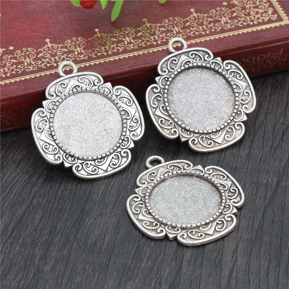 5pcs 20mm Inner Size Antique Silver Classic Style Cabochon Base Setting Charms Pendant (D2-23)