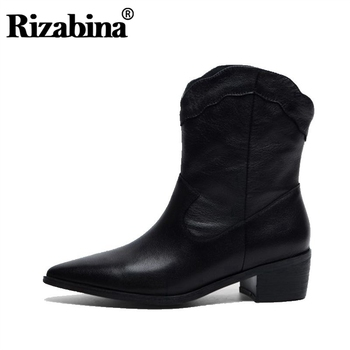 RIZABINA Winter Cowboy Boots Pointed Toe Genuine Leather Thick Heel Slip On Patry Shoes Black Footwear Botines Mujer Size 33-40