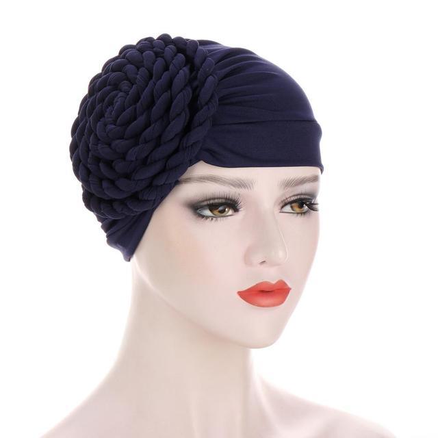 Фото новый головной убор тюрбан шапки для женщин твердая коса рюшами