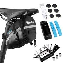 أدوات الدراجة الجبلية دراجة اكسسوارات عدة أدوات إصلاح السرج حقيبة الدراجات مقعد حزمة 16 في 1 متعددة الوظائف طقم أدوات إصلاح الجبلية