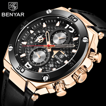 BENYAR Fashion Mens Watch Top Brand Luxury Sport Quartz Clock Mens Watches Business Waterproof Leather Watches Relogio Masculino relogio masculino benyar fashion gold chronograph sport watch mens top brand luxury date quartz wrist watches clock man reloj