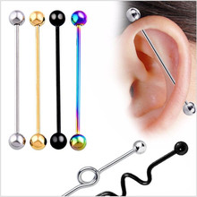 Stainless Steel Long Industrial Barbell Earrings Cartilage Helix Tragus Ear Bar Fashion Body Piercing Jewelry 1pcs