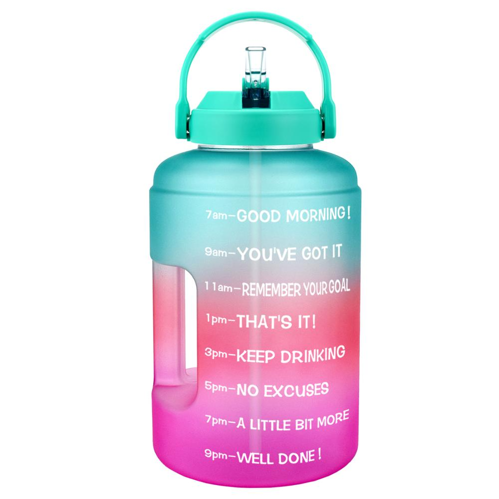 QuiFit Water Bottle with Strainer Time Marker,2L//1.3L Fruit Infuser Travel Water Bottle BPA Free Ideal for Sport Outdoor Fitness Gym