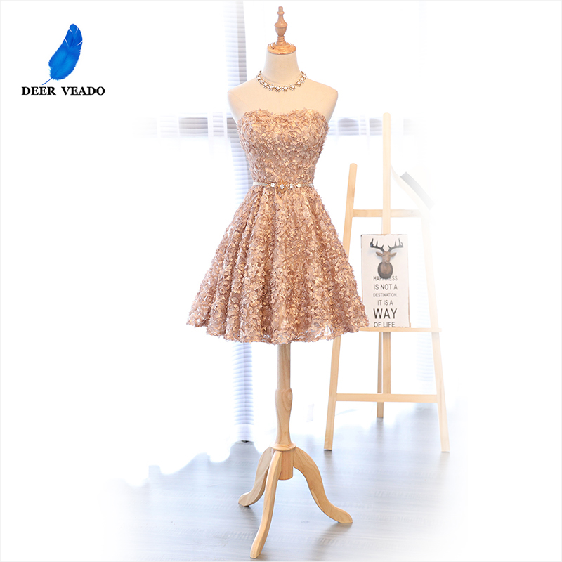 DEERVEADO XYG702 A Line Sweetheart Short Prom Dresses 2019 Sexy Backless Lace Up Knee Length Party