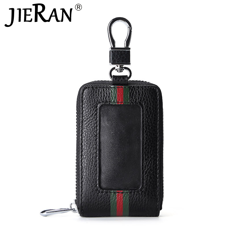 Key Bag New RFID Blocking Mini Leather Zipper Buckle Business Men Door Car Key Purse Male Keychain Key Organizer Housekeeper