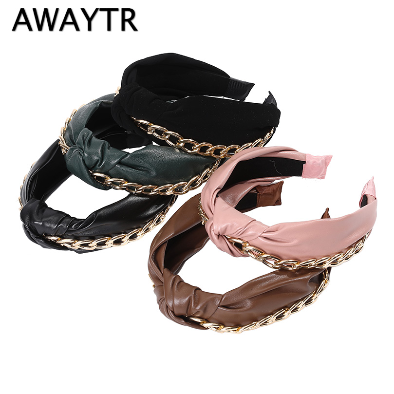AWAYTR Korea Simple Chain PU Leather Headband For Women Middle Knotted Wide Hairband Ladies Hair Loop Female Hair Accessories