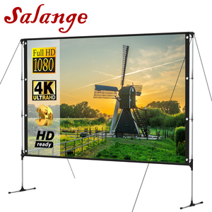 Salange Portable Projector Screen Outdoor With Stand Bracket Screen 100 inch 16:9 4K Ultra HD 3D Fast Folding Projection Screen(China)