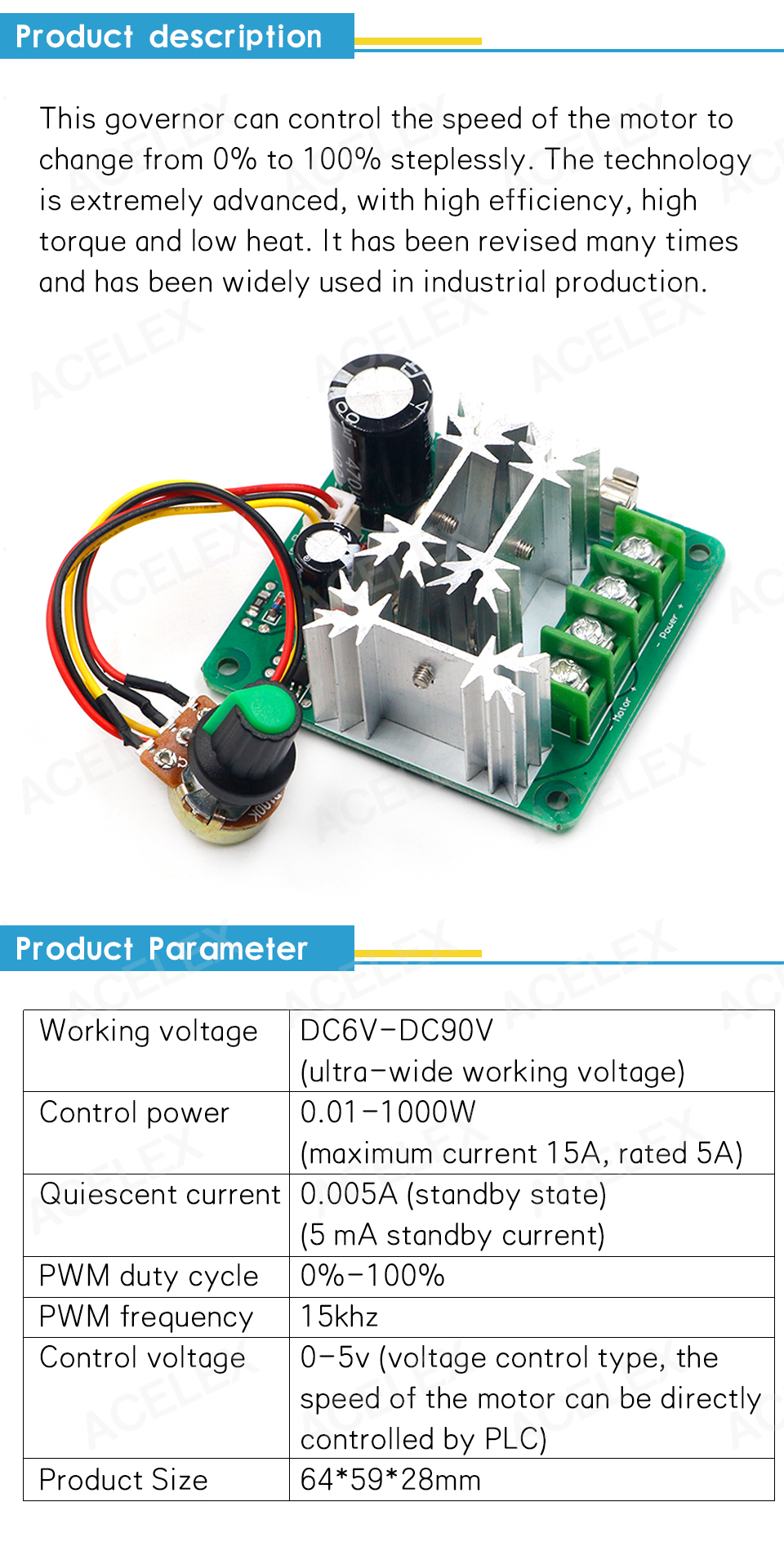 H3a5542d70dd349f1bfc6c1b51a22f8485 - DC 6V-90V 15A DC Motor Speed Controller Stepless Speed Regulation Pulse Width PWM DC 12V 24V 36V 48V 1000W