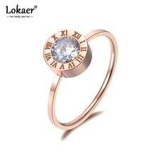 Lokaer de joyas de acero inoxidable redondos de circón AAA números romanos modelos básicos Anillos Mujer Rosa Anillos de Color dorado R18139