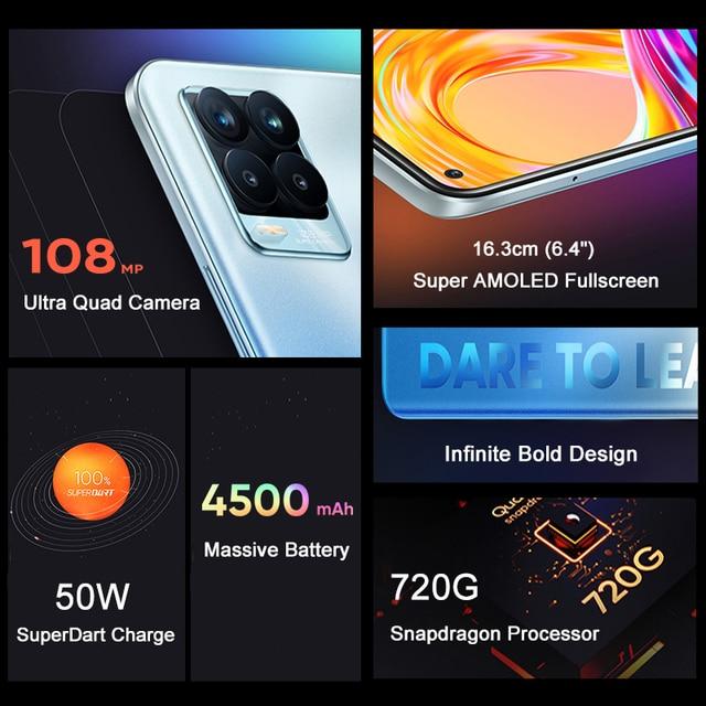 In Stock Global Version Realme 8 Pro Smartphone 8GB 128GB 6.4'' Screen 108MP Ultra Quad Camera Snapdragon 720G 4500mAh 50W NFC 2