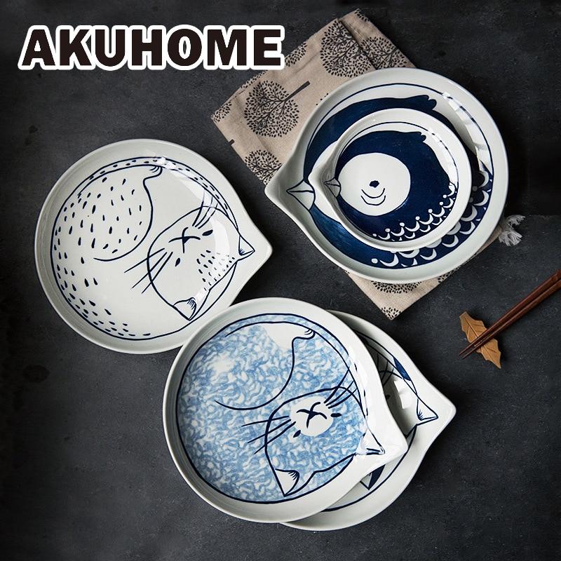 Japanese Style Ceramic Teardrop Plates Dishes Sets Fruit Tableware Creative Design Cute Cartoon Lucky Cat Pattern