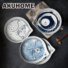 Juego de platos de cerámica estilo japonés con forma de lágrima, vajilla para fruta, diseño creativo, caricatura del gato de la suerte