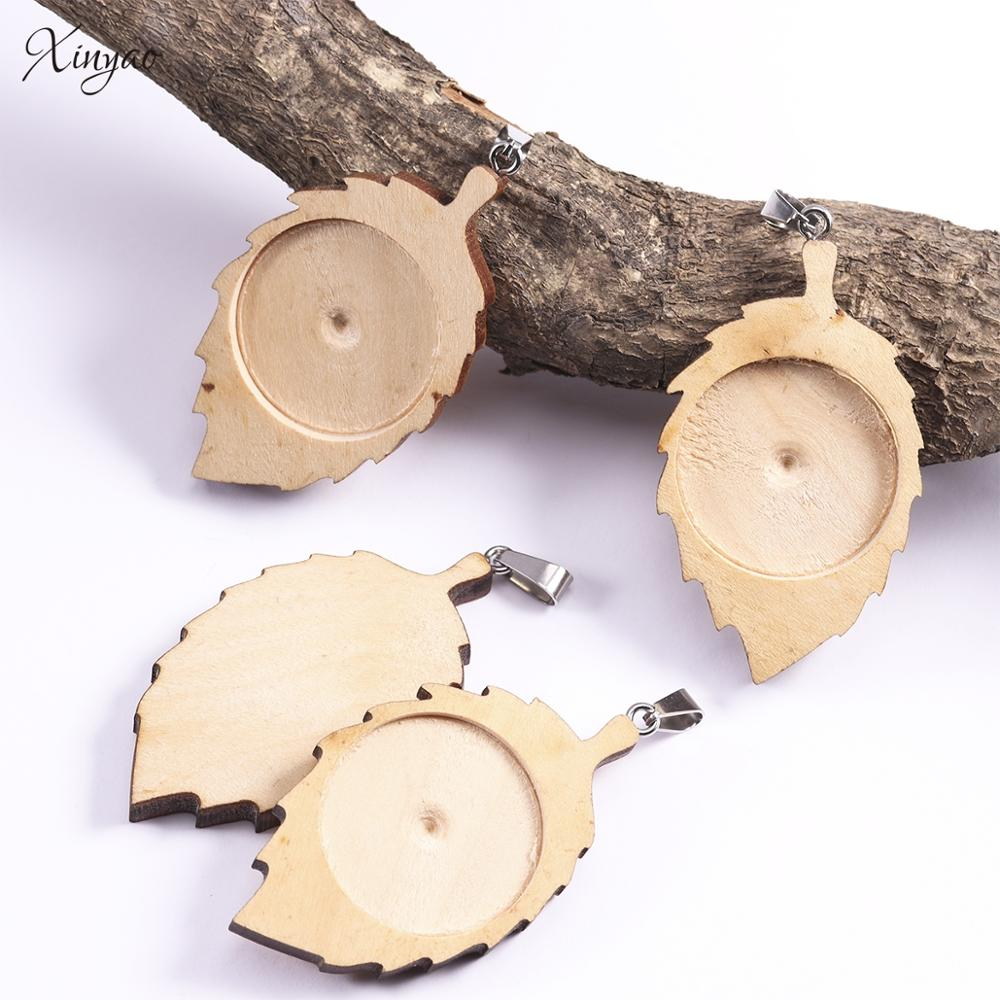 Xinyao 10pcs/lot Wood Leaf Blank Pendants Tray Base Fit Resin Glass Cabochon Cameo Bases For DIY Earring Necklace Jewelry Making