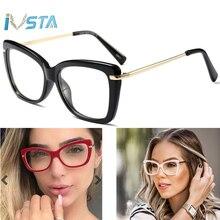 IVSTA Prescription Glasses Frame Women Oversized Big Size Brand Designer Red Crystal Clear Eyeglasses Computer Myopia for Sight