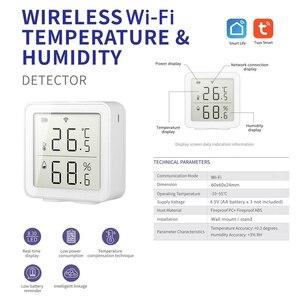 Image 3 - Sensor inteligente de temperatura y humedad con WiFi, dispositivo con pantalla LCD, funciona con el asistente de Google Alexa, Control de enlace con Tuya