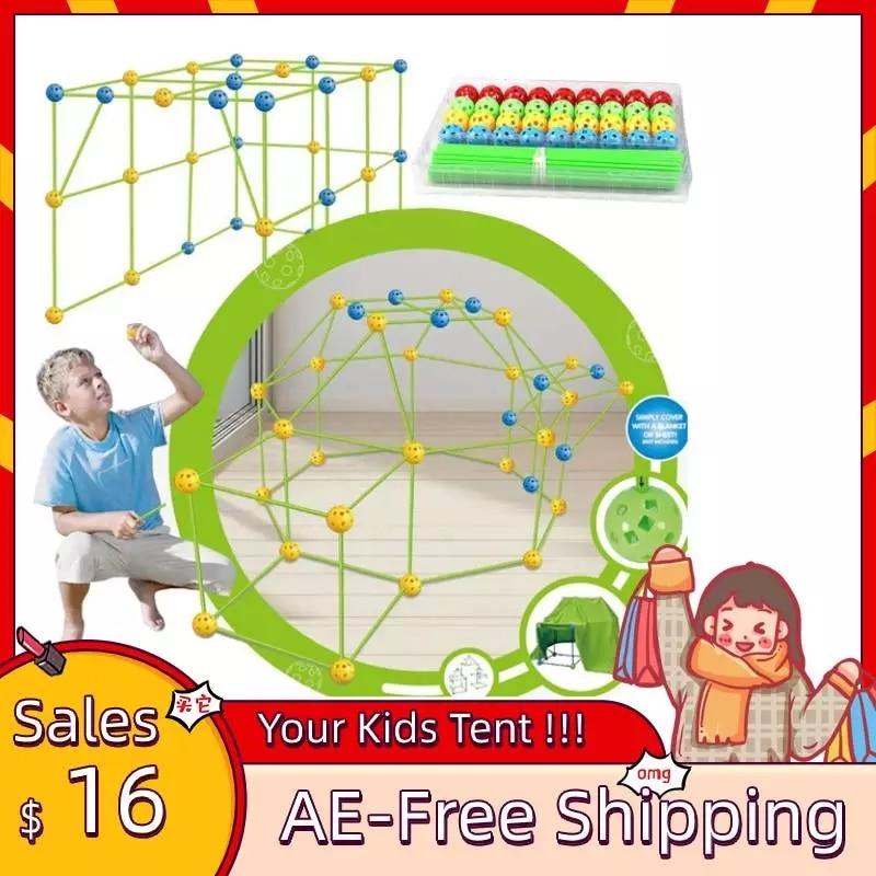 Novas crianças construção fort building castelos túneis tendas kit diy 3d jogar casa de construção brinquedos para meninos meninas presente pré-venda
