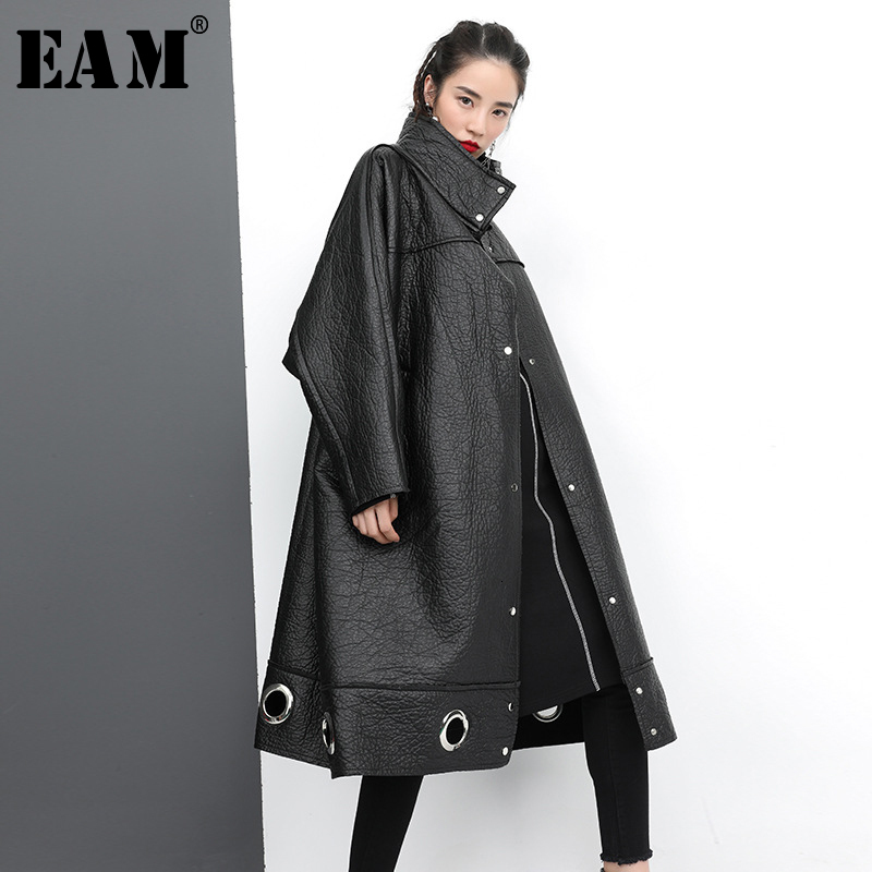 [EAM] Women Metal Decoration Pu Leather Oversize Trench New Turtleneck Loose Fit Windbreaker Fashion Autumn Winter 2020 1D067