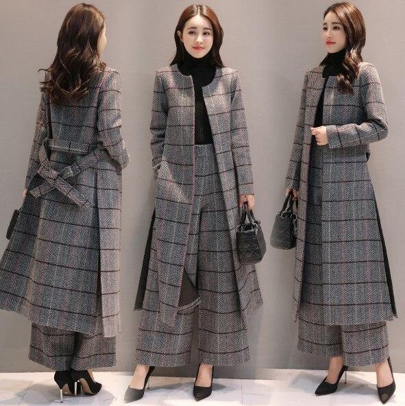 Длинный плащ до колена и широкие брюки; сезон осень зима; женские повседневные брюки; офисный женский костюм в клетку из двух предметов; брюк
