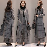 Knee Length Long Trench Coat and Wide Leg Trouser Autumn Winter Womens Casual Pantsuit Office Lady Plaid Two piece Pants Suits