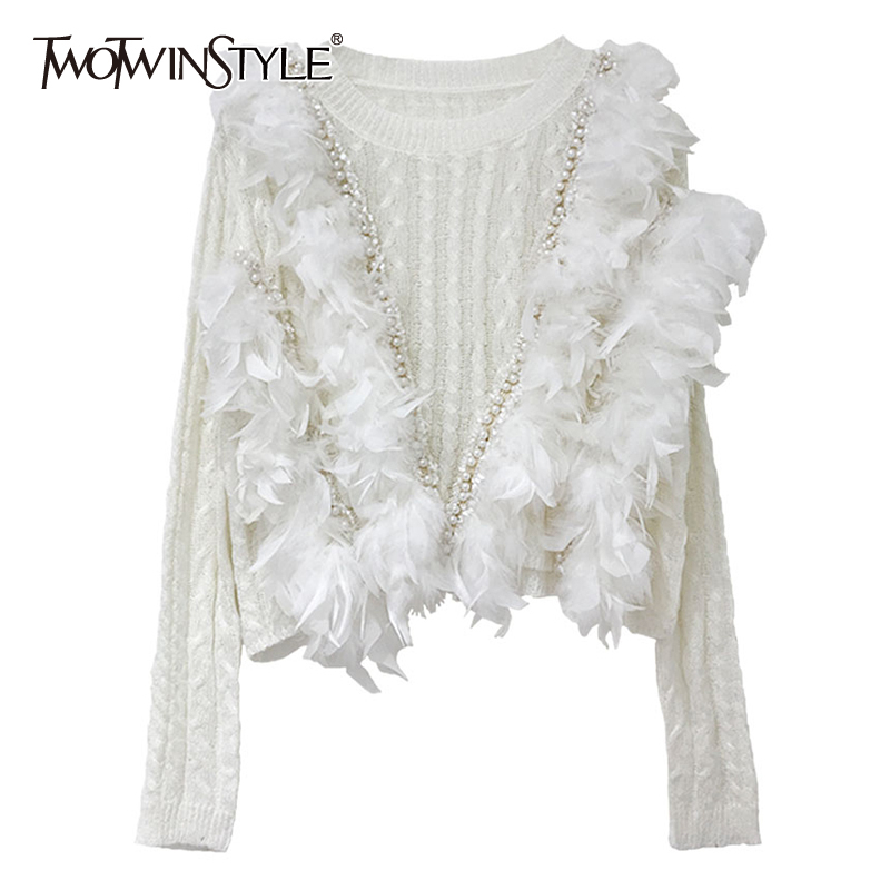 TWOTWINSTYLE Knitting Patchwork Pearl Feather Women's Sweaters O Neck Long Sleeve Female Pullovers 2019 Autumn Fashion New