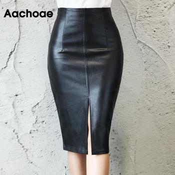 Aachoae czarna PU skórzana spódnica kobiet 2020 nowa Midi Sexy wysokiej talii Bodycon spódnica z rozcięciem ołówkowa do biura spódnica kolano długość Plus rozmiar tanie i dobre opinie CN (pochodzenie) Osób w wieku 18-35 lat Ołówek NONE WOMEN empire Stałe Na co dzień Leather skirt Casual Fashion Office