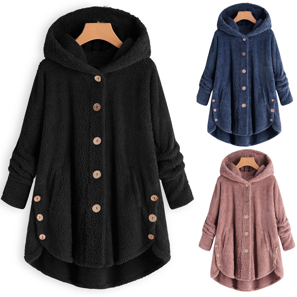 Thin Wool Fashion Women Button Coat Turn-down Collar Outwear Winter Jacket Casual Tops Hooded Pullover Loose Sweater Parka