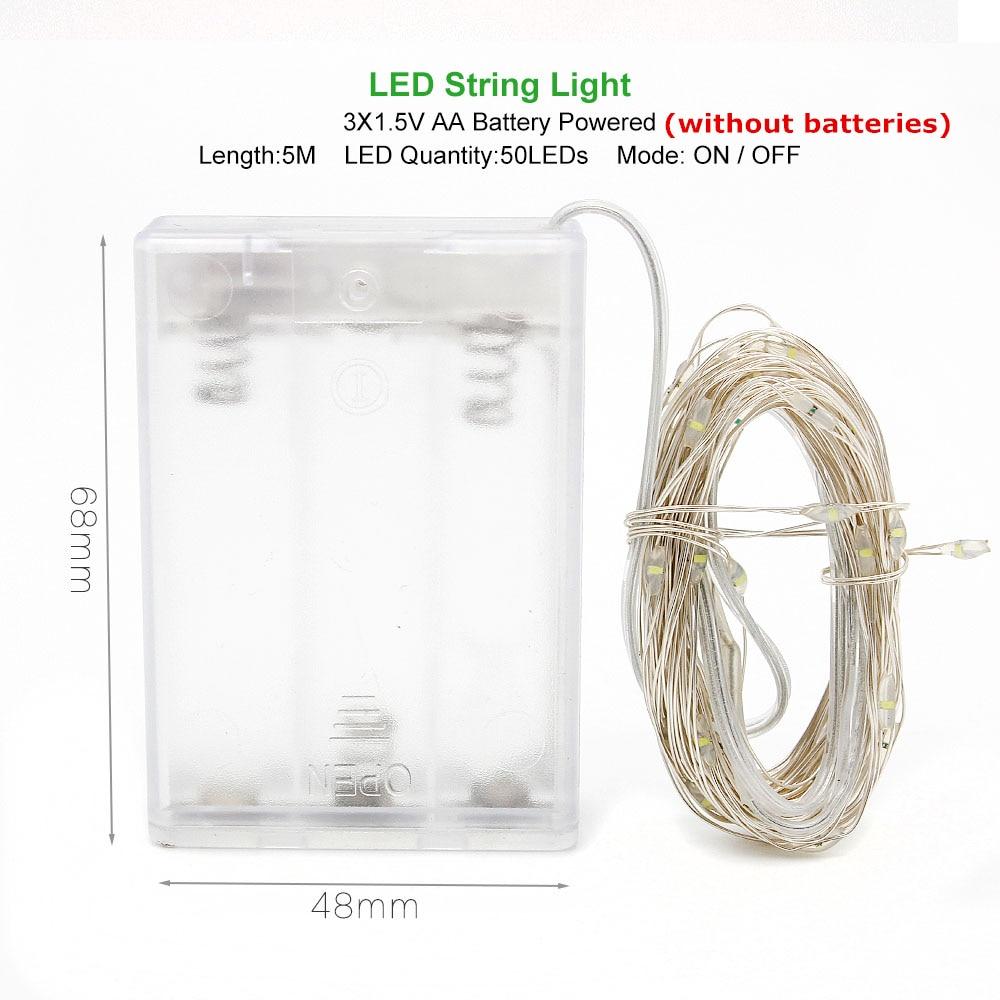 ANBLUB, 2 м, 3 м, 5 м, 10 м, наружный светодиодный гирлянда, праздничное освещение, Сказочная гирлянда для рождественской елки, украшения для свадебной вечеринки - Испускаемый цвет: 5M by AA Battery