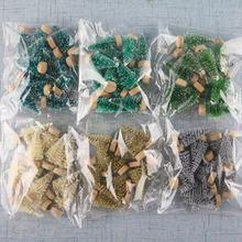 12-sztuka Mini boże narodzenie drzewo sizal jedwabiu cedr dekoracji małe choinki Mini
