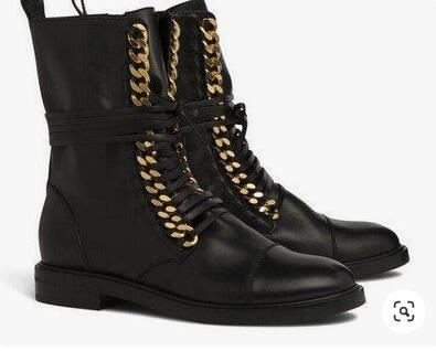 Fashion Gold Chain Ankle Boots Black Leather Lace up Stacked Heel Flat Motorcycle Boots Women Round Toe Lady Runway Ridding Boot - 6
