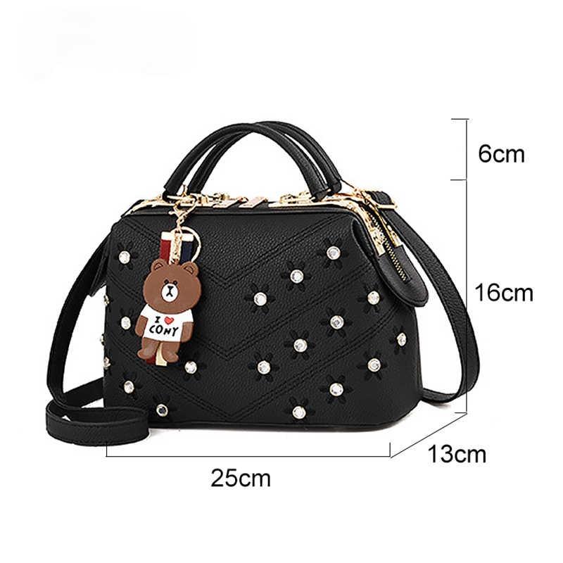 Модная сумка на плечо для женщин, дамские сумочки через плечо, однотонные маленькие мессенджеры с милыми цветами для девушек
