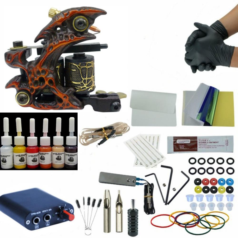 Tattoo Kit Professional 1Tattoo Gun Machine Set 6colors Ink Set Power Supply Grips Body Art Tools Permanent Makeup Tattoo Set