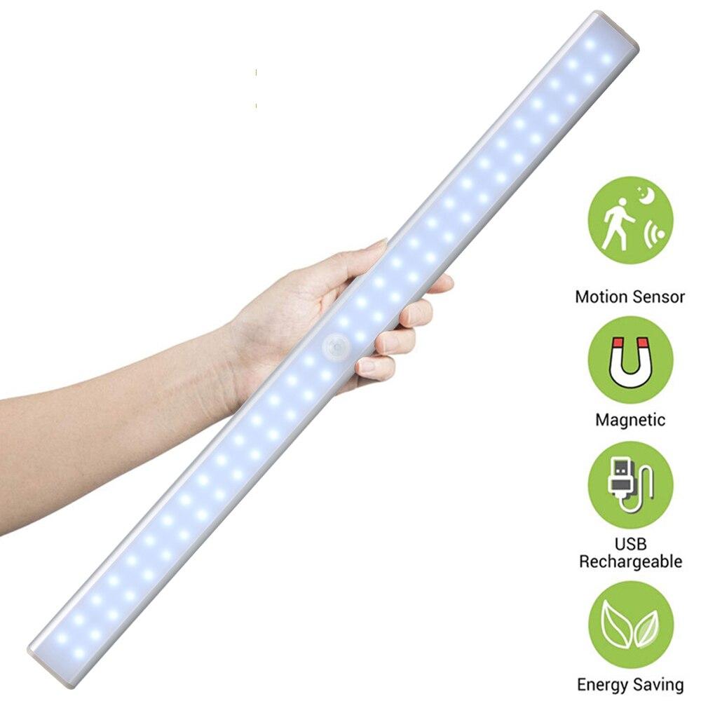 40 см 60 светодиодов беспроводной светильник под шкафом USB Перезаряжаемый светильник для шкафа s датчик движения магнитная полоса ночные ламп...
