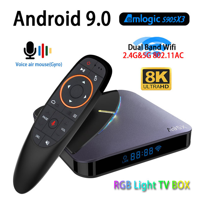 A95X F3 RGB Light Android 9 TV BOX 8K 4K Youtube Amlogic S905X3  wifi 2GB 4GB 16GB 32GB 64GB Set Top TV Box