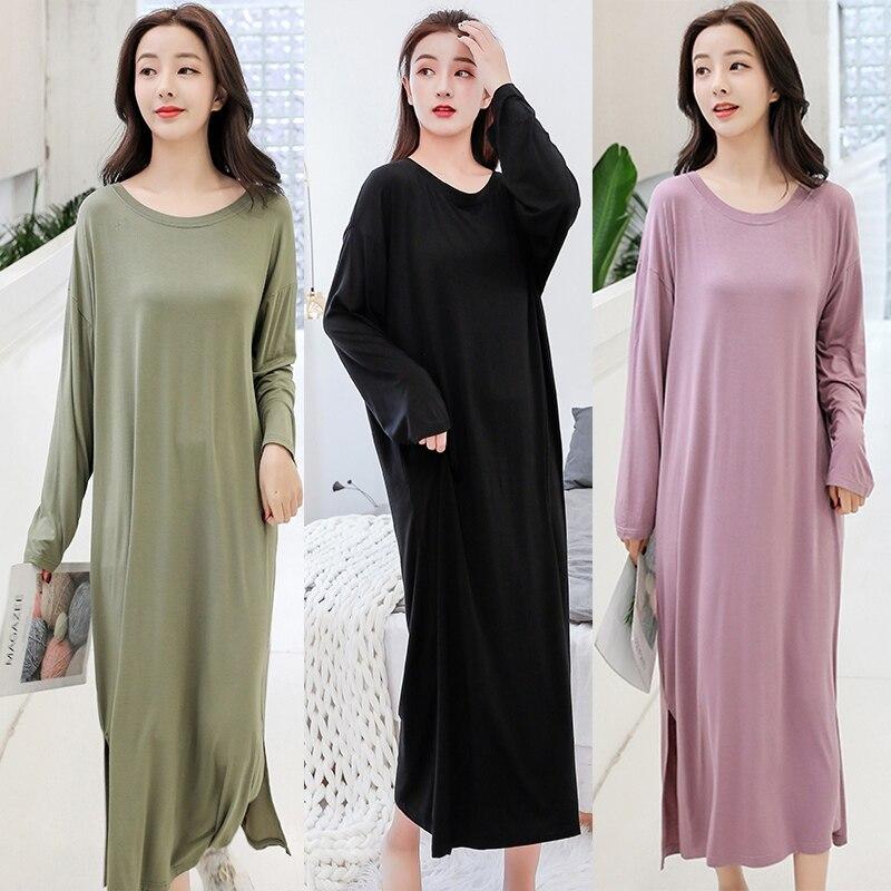 Hot Salling Dress Pregnant Women Loose Modal Nightdress Pregnant Women Long-sleeved Dress Large Size Long Night Dress