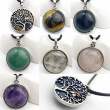 Natural Stone Necklaces & Pendants Ancient Silver-color Hollow Tree of Life Round Flat Beads Pendant Women Men Jewelry(China)
