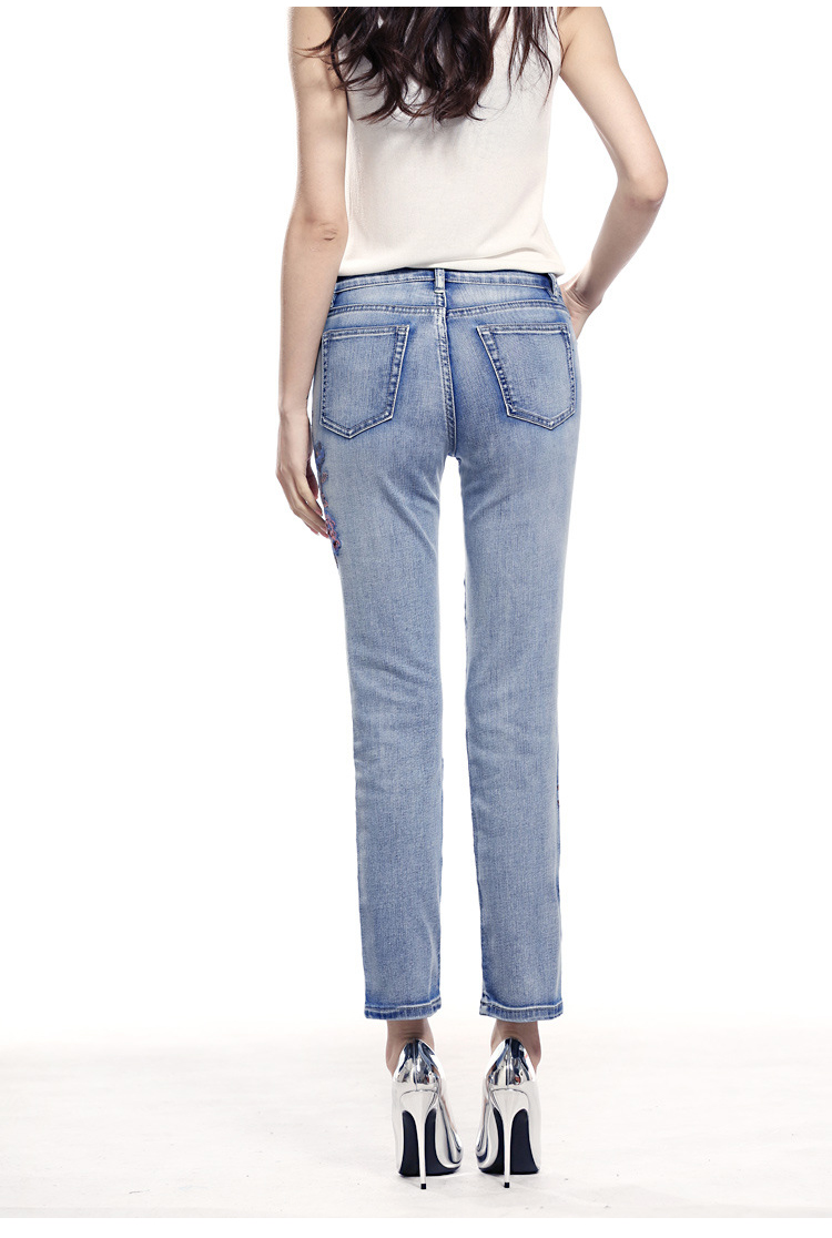 KSTUN FERZIGE high waist jeans women light blue stretch cropped pants embroidery flowers spring and summer jeans slim straight mujer 15