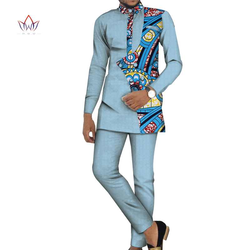 Bazin Riche Men 2 Pieces Pants Sets African Design Clothing African Men Clothes Casual Men Top Shirts And Pants Sets WYN981