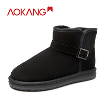 AOKANG 2019 Winter Snow Boots Cow Split Leather Ankle Shoes Men Warm Short Plush Comfortable Brand