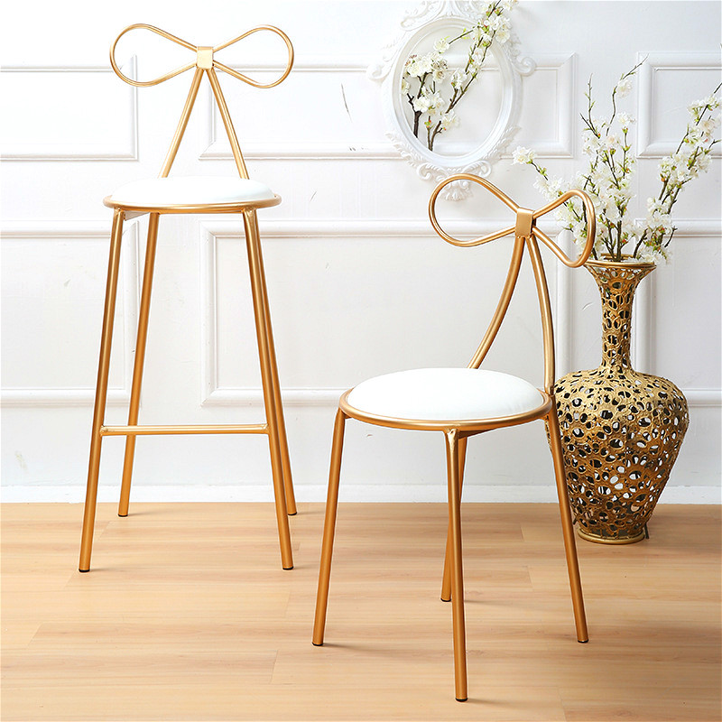 15%,Quality Metal Chair Fashion Nordic Bar Leisure Stool Modern Dining Party Seat With Bow Shape Backrest & High Foam Sponge