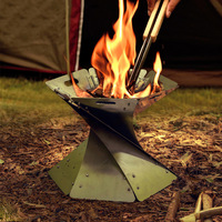 Outdoor Campfire Foldable Camping Stove Fire Pit Burning Portable Lightweight Fireplace for Camping Hiking Trekking Backyard Gar