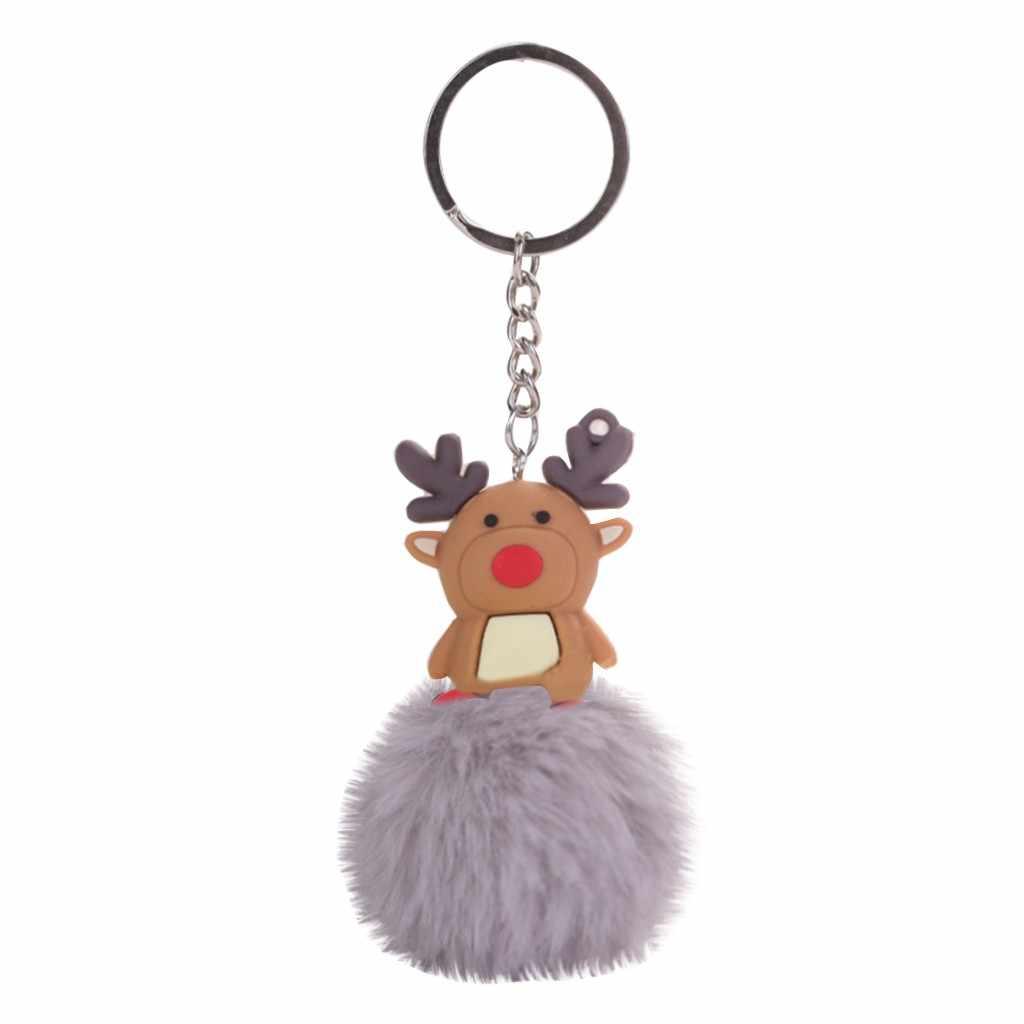 คริสต์มาส ELK FUR Ball Keychain สีแดงสีดำปลอมกระต่าย PomPom สำหรับตกแต่งเครื่องประดับ DIY รถพวงกุญแจ Charms ผลการค้นหา