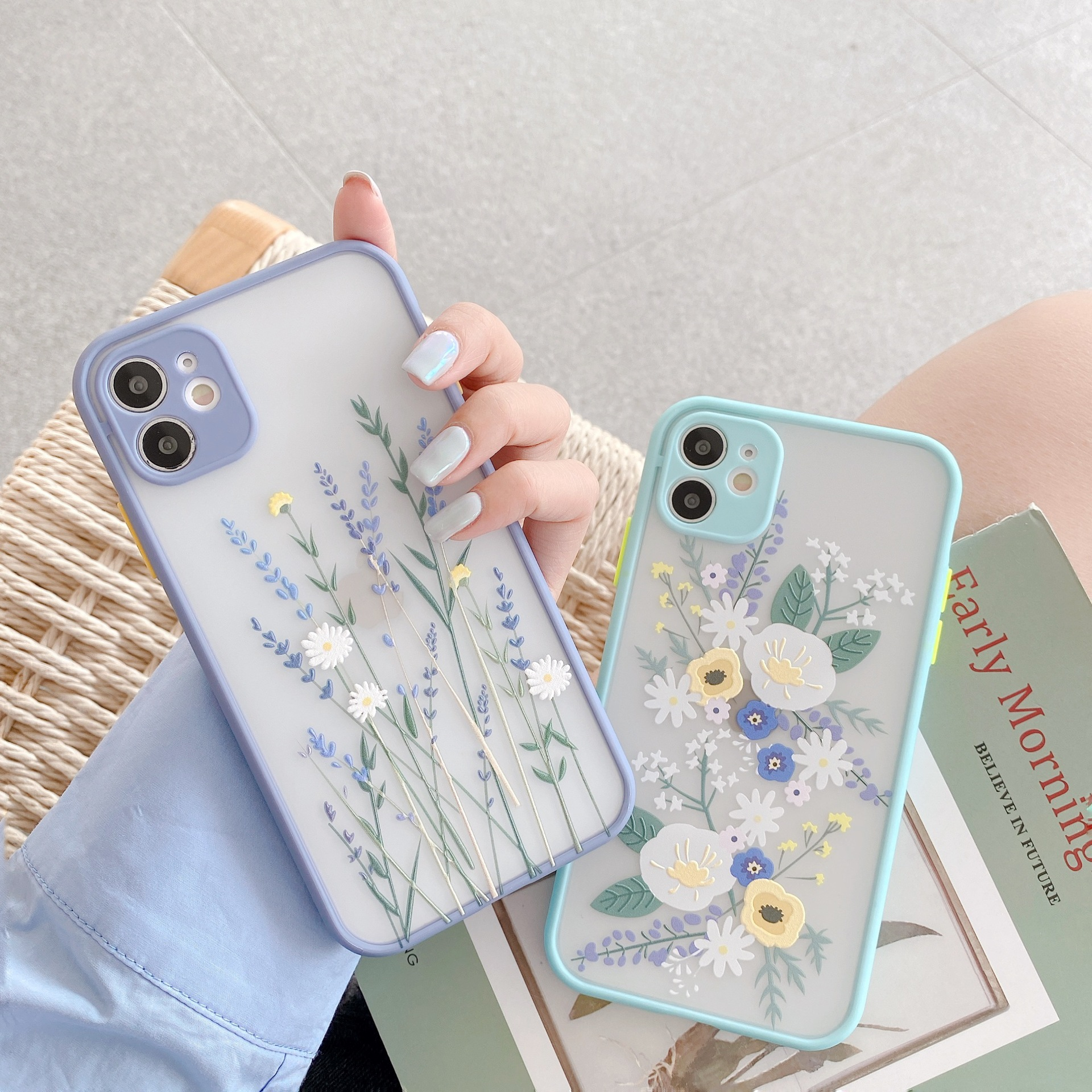 Luxury 3D Relief Flower Case For iPhone 12 Mini 11 Pro Max X XR XS Max 7 8 Plus Soft Bumper Transparent Matte PC Back Cover